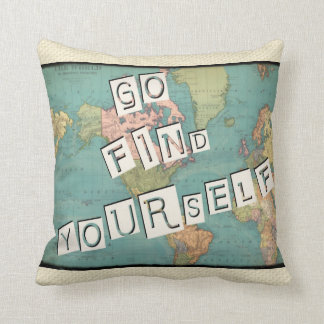 Go Find Yourself Vintage Map Pillow