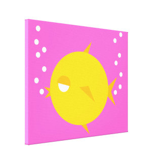 Go Fish_Bubbles The Blowfish_Double Bubbly on pink Canvas Prints