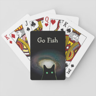 Go Fish ~ Funny Black Cat in Space Playing Cards