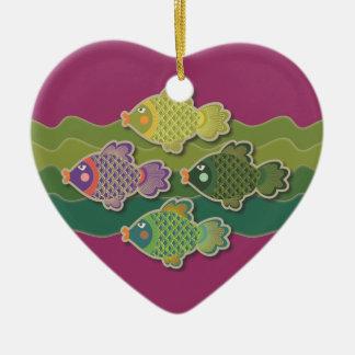 Go Fish Green Heart Ornament