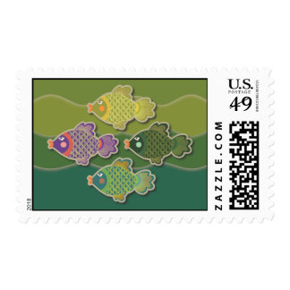 Go Fish Green Postage Stamp