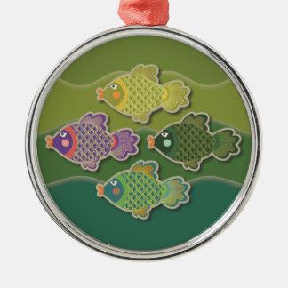 Go Fish Green Premium Round Ornament