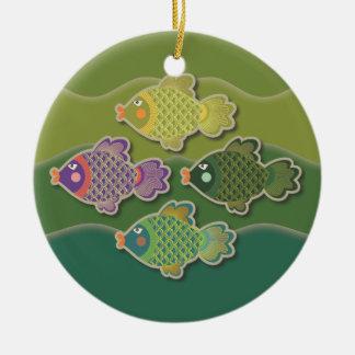 Go Fish Green Round Ornament