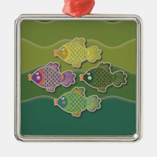 Go Fish Green Square Ornament