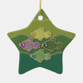 Go Fish Green Star Ornament