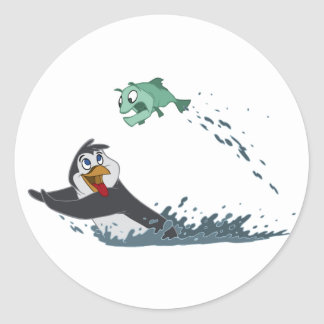 """Go Fish"" Penguin Classic Round Sticker"