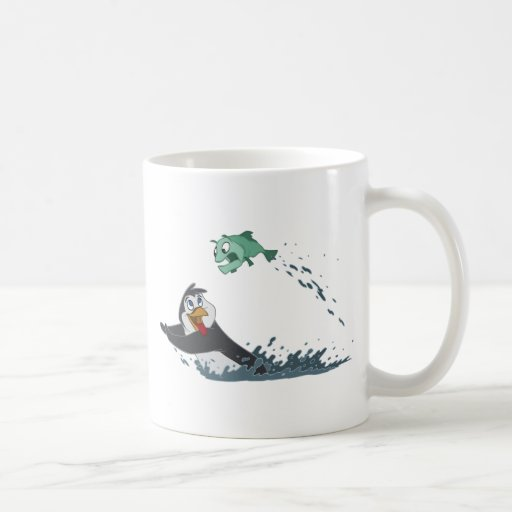 """Go Fish"" Penguin Classic White Coffee Mug"