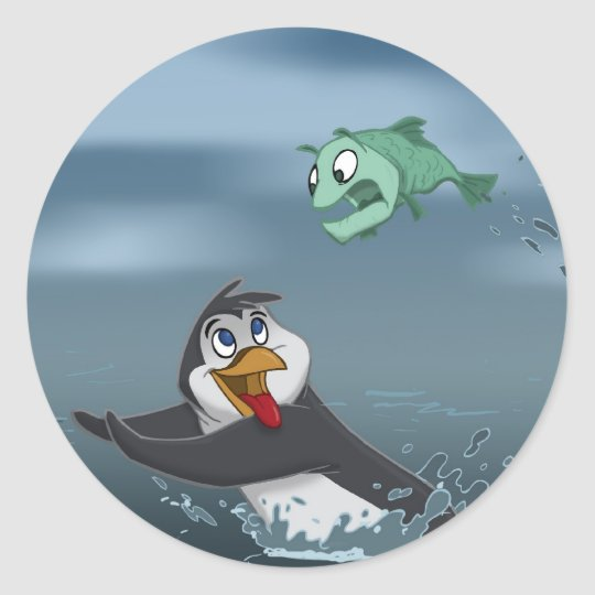 """Go Fish"" Penguin w/Background Classic Round Sticker"