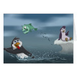 """Go Fish"" Penguin w/Background Greeting Card"