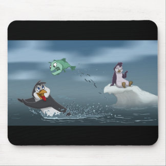"""""""Go Fish"""" Penguin w/Background Mouse Pad"""