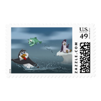 """Go Fish"" Penguin w/Background Postage"