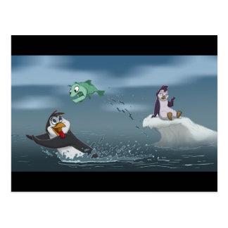 """Go Fish"" Penguin w/Background Postcard"