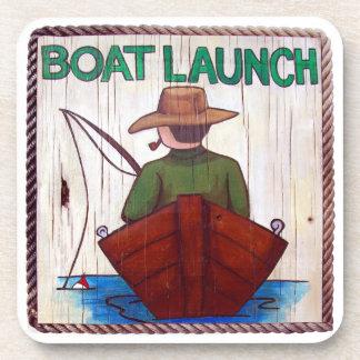 Go Fishing! Boat Launch Painting Cork Coaster
