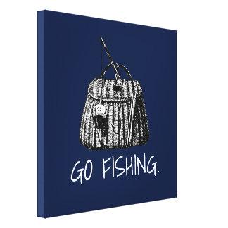 Go Fishing |Vintage Fishing Basket Illustration Canvas Print