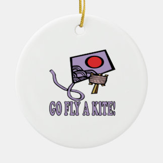 Go Fly A Kite 3 Ceramic Ornament