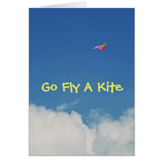 GO FLY A KITE/HUMOROUS B-DAY CARD/CUSTOMIZABLE STATIONERY NOTE CARD