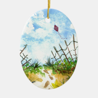 Go Fly A Kite - watercolor Ceramic Ornament