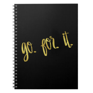 Go For It Quote Gold Faux Foil Inspirational Quote Notebook