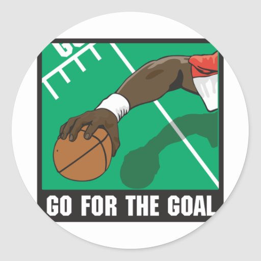 go for the goal football design classic round sticker