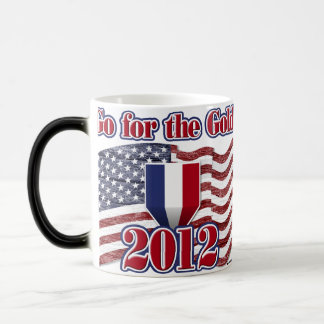 Go for the Gold with American Flag - wood grain Magic Mug