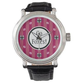 Go Foxes foxhead and foxpaw logo Wristwatch