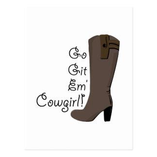 Go Get Em Cowgirl Post Card