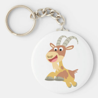 Go Goat!! (cute cartoon goat) Keychain