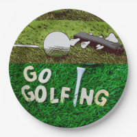 Go golfing with golf ball and tee on green paper plate