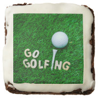 Go golfing with golf ball on green brownie