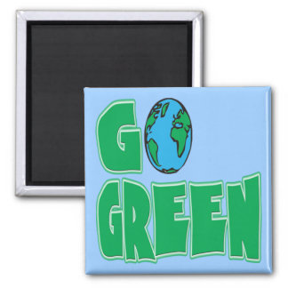 Go Green 2 Inch Square Magnet