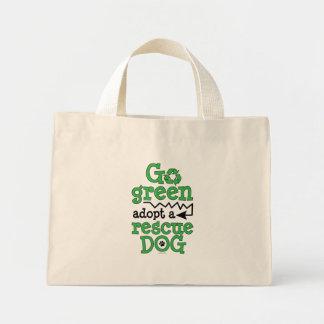 Go green, adopt a rescue dog tote bag