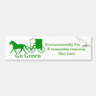 Go green, amish horse and buggy bumper sticker
