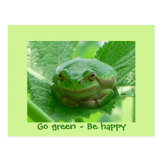 Go green - be happy - smiling green frog postcards