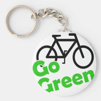 go green bicycle basic round button keychain