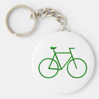 Go Green Bicycle Basic Round Button Keychain