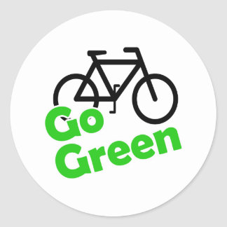go green bicycle classic round sticker