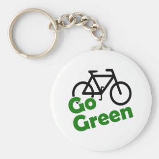 go green bicycle keychain