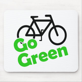 go green bicycle mouse pad