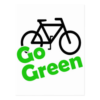 go green bicycle postcard