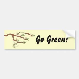Go Green Branch with Leaves Bumper Sticker