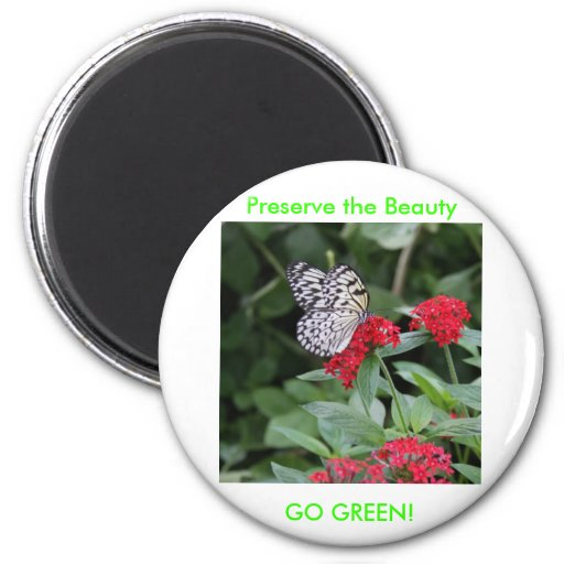 GO GREEN!  Butterfly Beauty 2 Inch Round Magnet