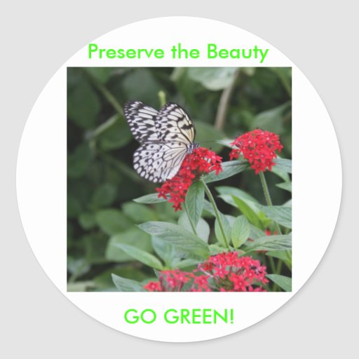 GO GREEN!  Butterfly Beauty Classic Round Sticker
