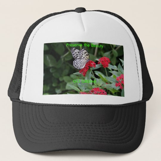 GO GREEN!  Butterfly Beauty Trucker Hat