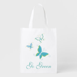 Go Green Butterfly Design Grocery Bag