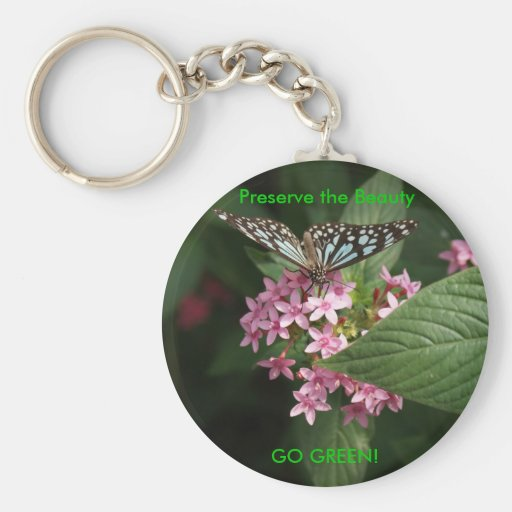 GO GREEN! Butterfly Flower Key Chains