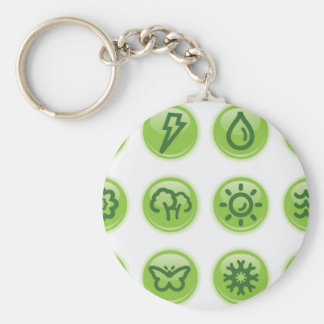 Go Green Buttons Key Chains