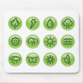 Go Green Buttons Mouse Pads