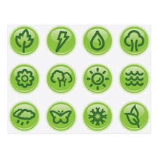 Go Green Buttons Postcards
