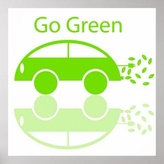 Go Green Car Illustration Poster