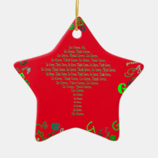 go green Christmas Ceramic Ornament